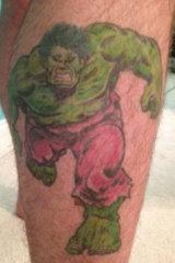 Jonathan Dick's Incredible Hulk tattoo.