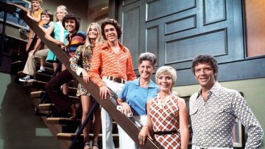 Days gone by ... the cast of The Brady Bunch on the iconic staircase as it was built on Paramount Stage 5.