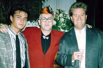 Alexandre Despallieres, left, with Elton John and Peter Ikin.