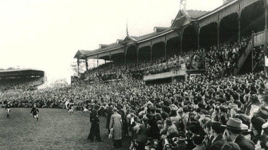 The crowd at the 1949 King's birthday match.