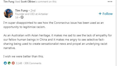 A LinkedIn post from Airtasker founder Tim Fung on the fallout from coronavirus.