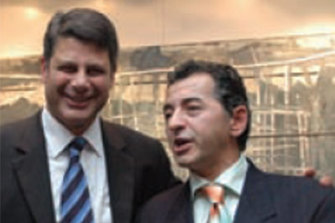 Then premier Steve Bracks and cleaning mogul and one-time Labor donor George Stamas.