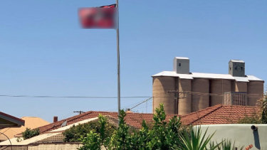 A Nazi flag flying over a home in the Victorian town of Beulah last year.