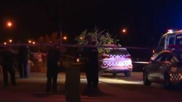 The scene in the Rockhampton suburb of Norman Gardens after the fatal shooting.