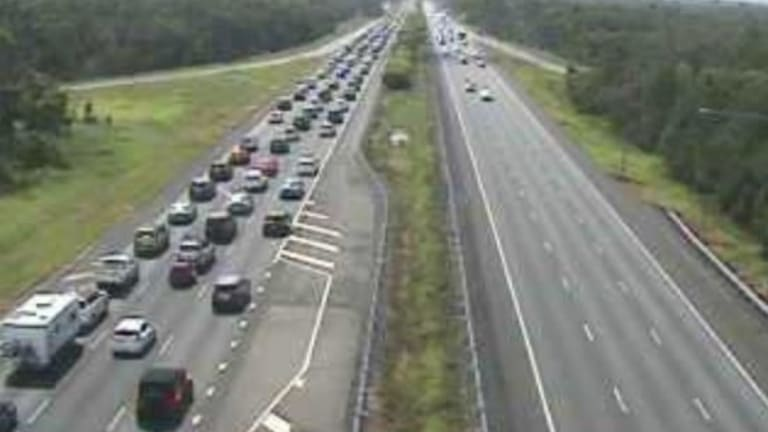 More than 15 kilometres of congestion had formed on the Bruce Highway, with traffic cameras showing heavy delays through Burpengary.