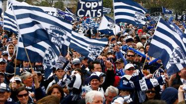 Geelong fans celebrate the 2009 premiership.