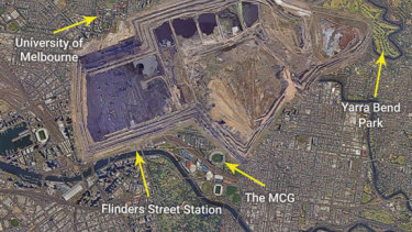 The Hazlewood mine pit overlaid on Melbourne's central business district to give some idea of scale.