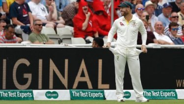 Nothing to see here: David Warner plays up to the Edgbaston crowd taunting him over the sandpaper affair.