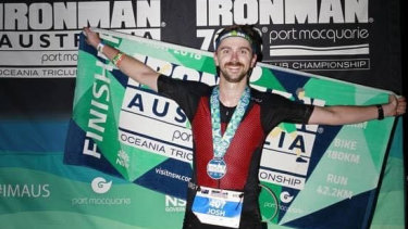 Constable Prestney after finishing an ironman challenge.