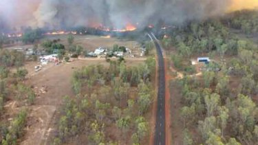 Emergency: The fire burns at Tingha Plateau, south of Inverell.