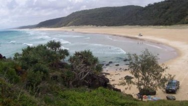 Teewah Beach, north of Noosa, where a teen was seriously injured on Friday.