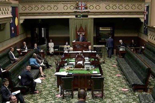 The moment the opposition walked out of NSW Parliament following Labor Leader Jodi McKay's expulsion from the chamber.