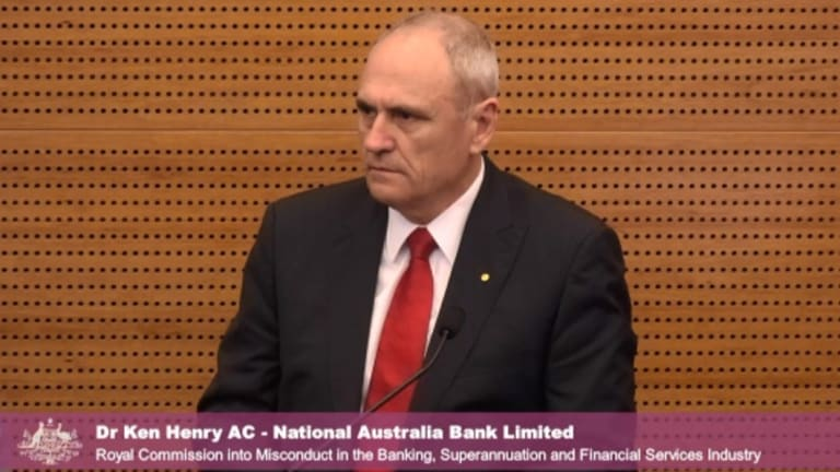 Ken Henry testifying at the Royal Commission.
