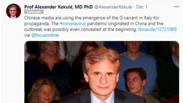 Professor Alexander Kekule tries to clear his name on Twitter after CCP propagandists spread false information about his views.
