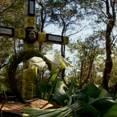 The cross erected at the location where Jane Rimmer's body was found in Wellard in 1996.