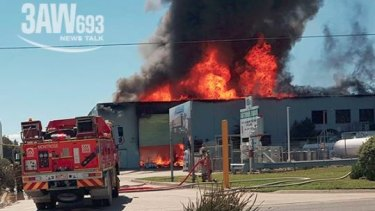 CFA and MFB firefighters are battling the blaze.