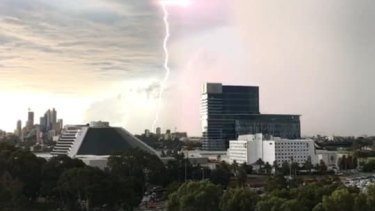 Burswood resident Cassie Jones caught this shot of the front moving across the city just before 5pm.