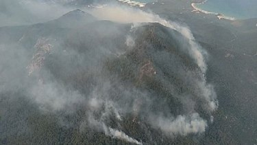 A fire burning out of control at Wilsons Promontory.