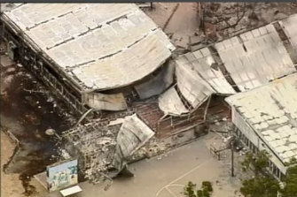 Aerial image of Clifton Creek Primary School in the aftermath of the Gippsland Bushfire.
