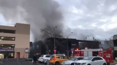 A blaze at a vacant office building in Box Hill has been brought under control after it sent plumes of smoke over Melbourne's east.