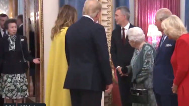 "Rorschach test: The interaction between the Queen and her daughter, Princess Anne. Some see it as Anne loath to meet US President Donald Trump, while others  see it as the Notorious Q ""side-eyeing"" Anne to get in line, like a naughty corgi."