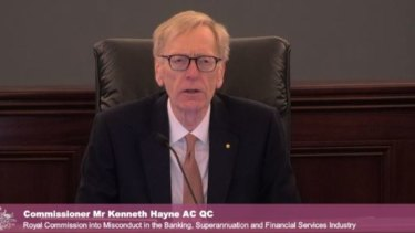 "Commissioner Kenneth Hayne as he challenged ASIC chief James Shipton's ""self-referential"" suggestions."