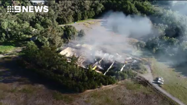 An aerial view of the Big Brother house fire on the Gold Coast on Saturday, June 22, 2018.