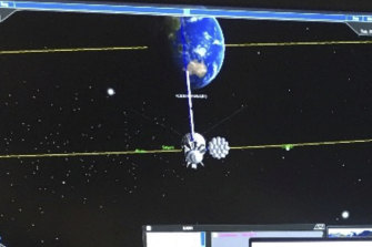 A space object on a screen at Saber Astronautics Colorado control station.