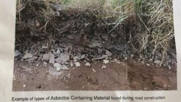 An example of asbestos containing material on a road project