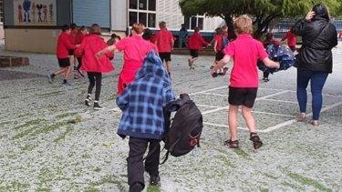 Mosman Park School covered in 'snow'.