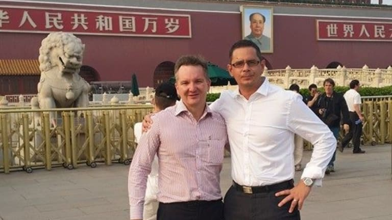 Federal Shadow Treasurer Chris Bowen and WA Treasurer Ben Wyatt in Tiananmen Square, Beijing, during a trip hosted by an organisation run by controversial billionaire Huang Xiangmo and the Communist Party of China.