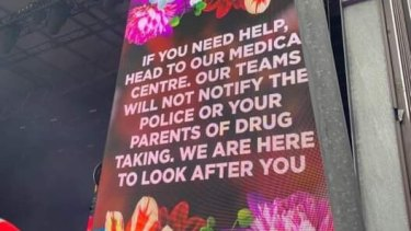 Drug warnings displayed at Falls Festival in Lorne on Sunday.
