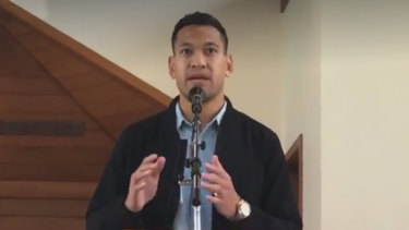 Former Australian rugby union player Israel Folau delivers a sermon at The Truth of Jesus Christ Church in Sydney.