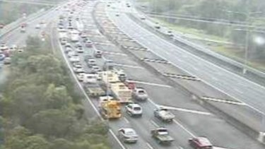 The Bruce Highway southbound congestion is seen on a traffic camera in Mango Hill about 7am.