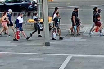 CCTV footage released by police shows the people they believe carried out the 'paint-bombing'.