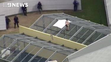 One of the prisoners on top of the Wacol facility.