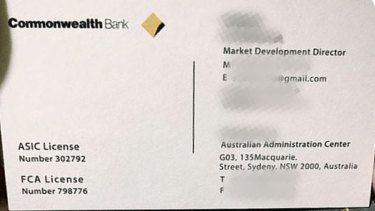 The address and licence numbers on the card belong to USG, not the Commonwealth Bank where staff have emails that end @cba.com.au rather than @gmail.com.