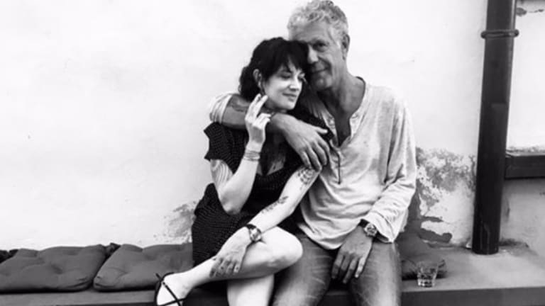 Asia Argento with Anthony Bourdain, in a photo posted to Instagram on May 27.