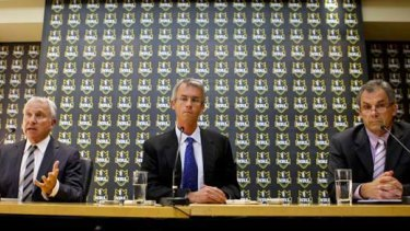 News Ltd chairman John Hartigan, NRL chief executive David Gallop and Storm chairman Rob Moodie announce the Melbourne sanctions on April 22, 2010.