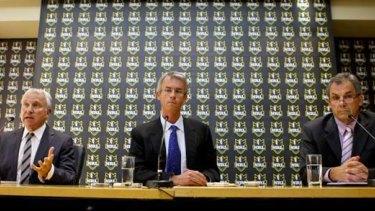 News Ltd chairman John Hartigan, NRL chief executive David Gallop and Storm chairman Rob Moodie announce the Melbourne sanctions on April 22, 2010.