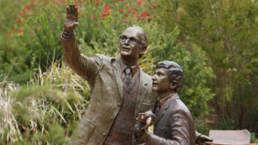 """A bronze statue titled The Spark was erected following the death in 2016 of Desmond Lyle """"Jim"""" Graham, a teacher at The Armidale School."""
