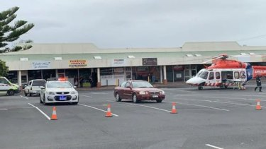 The man was airlifted from the shopping centre to Royal Melbourne Hospital.