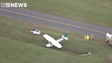 The result of the failed take-off at Archerfield Airport on Wednesday morning.