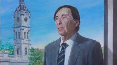 Detail from the portrait of Stonnington councillor John Chandler by artist Anna Minardo.