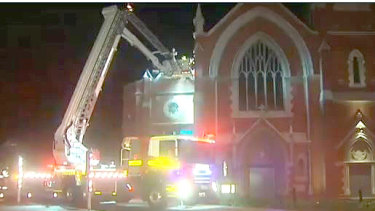 DFES rushed to the church in Subiaco where tiles were falling off the roof.