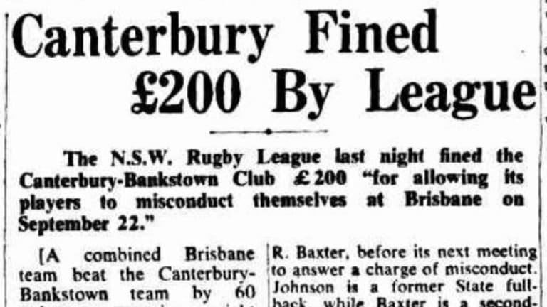 Canterbury were fined and two players suspended, as reported in this article on October 14, 1947.