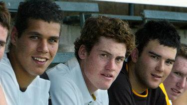 Hawthorn's 2004 star draftees (L-R) Lance Franklin, Jarryd Roughead and Jordan Lewis.