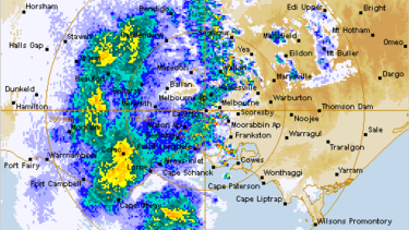 The radar at 8.30am as a rain band approached from the west.