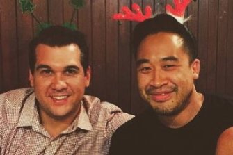 Michael Sukkar, left, with his good friend and sometime employee, Matt Pham.