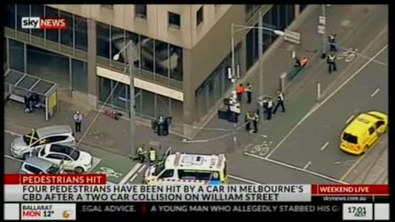 The scene where four pedestrians were injured in Melbourne's CBD.